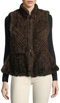 La Fiorentina Chevron Fur Short Zip-Up Vest