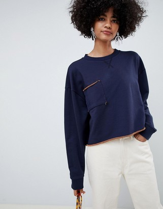 ASOS raw edge cropped sweatshirt