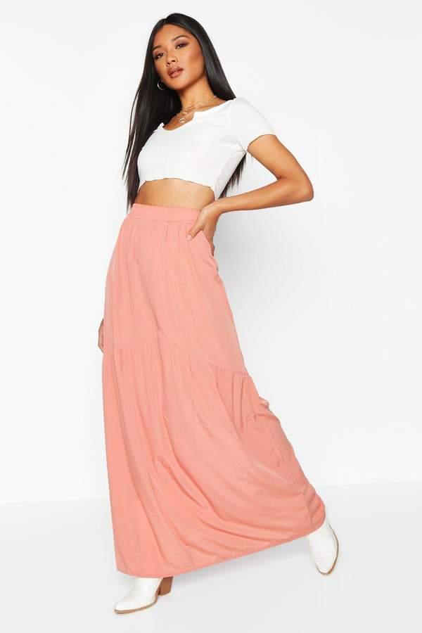 boohoo Front Ruffle Hem Maxi Skirt