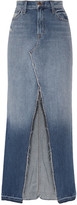 J Brand Trystan Distressed Denim Maxi Skirt - Mid denim