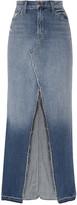 J Brand Trystan Distressed Denim Maxi Skirt - Mid denim