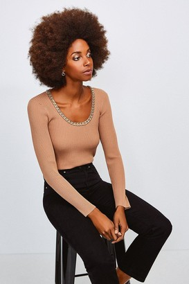 Karen Millen Chain Scoop Neck Knitted Top