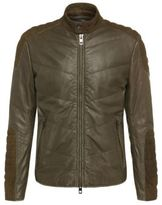Hugo Boss Jendricks Suede Sheepskin Detail Biker Jacket 38R Green