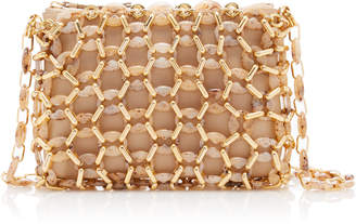 BY FAR Capria Resin and Gold-Tone Bead-Embellished Leather Shoulder Bag