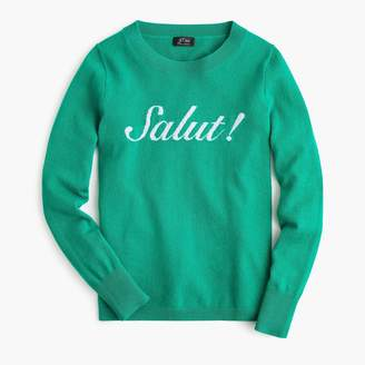 """J Crew Long-sleeve everyday cashmere sweater in /""""Salut!/"""" Green Size Medium"""