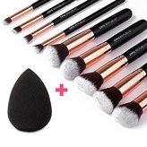 CHIC REPUBLIC 10-Piece Kabuki Contouring Taklon Synthetic Hair Makeup Brush Set with Sponge Blender, Rose Gold
