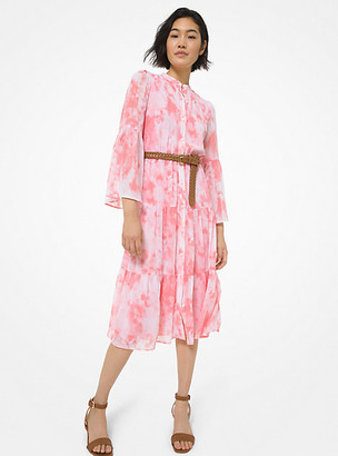 MICHAEL Michael Kors MK Tie Dye Georgette Tiered Dress - Shell Pink - Michael Kors