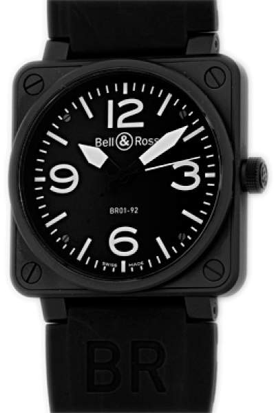 """Bell & Ross BR 01-92"""" Black Carbon Finish Stainless Steel Mens Strap Watch"""