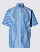 Marks and Spencer Pure Cotton Slub Striped Shirt
