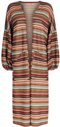 Traffic People Striped Long Sleeved Shrug Jacket In Multicoloured
