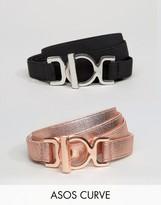 Asos 2 Pack Skinny Elastic Waist Belt