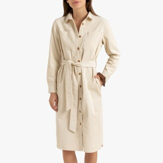 Corduroy Midi Shirt Dress with Long Sleeves and Tie-Waist