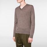 Paul Smith Men's Brown Marl Merino-Wool V-Neck Sweater