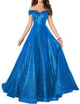 CIRCLEWLD Sequin Prom Dresses Off The Shoulder Crystal Beaded Swing Ball Gown Long P104