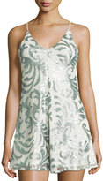 Romeo & Juliet Couture Sequin-Embellished Short Jumpsuit, Mint/White