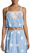 Miguelina Hannah Versailles Sleeveless Lace Crop Top, Blue