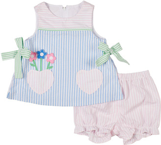 Florence Eiseman Girl's Striped Floral Heart Pocket Dress w/ Bloomers, Size 3-24M