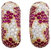 Chaumet 18K Yellow Gold Diamond and Ruby Clip-on Earrings