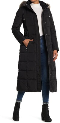 DKNY Maxi Down Coat with Faux Fur Hood