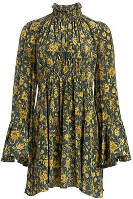 AMUR Sorah Floral Silk Dress