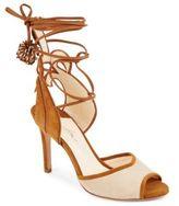 Peep-Toe Leather Stiletto Sandals