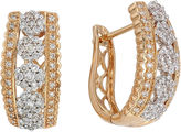 JCPenney FINE JEWELRY diamond blossom 1 CT. T.W. Diamond 14K Yellow Gold 5-Cluster Hoop Earrings