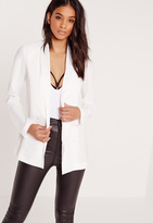 Missguided Crepe Double Button Blazer White