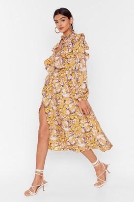 Nasty Gal Womens Floral You Know Ruffle Midi Dress - Mustard