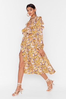 Nasty Gal Womens Floral You Know Ruffle Midi Dress - Yellow - 6, Yellow