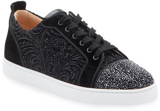 Christian Louboutin Men's Louis Junior Jeweled-Velour Low-Top Sneakers