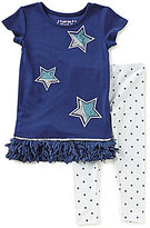 Flapdoodles Little Girls 2T-6X Sparkle Star-Print Dress & Star Leggings Set