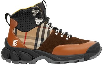 Burberry Leather Vintage Check Cotton And Suede Tor Boots