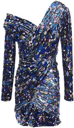 Balenciaga Cold-shoulder Gathered Printed Velvet Mini Dress