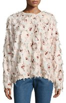 See by Chloe Fringed Long-Sleeve Jewel-Neck Floral-Printed Blouse