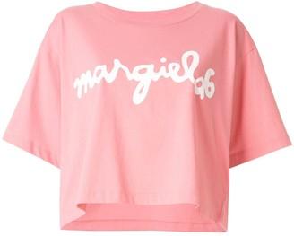 MM6 MAISON MARGIELA logo print cropped T-shirt