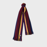 Paul Smith Men's Red Reversible Striped Wool Scarf