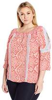 NY Collection Women's Plus Size Printed 3/4 Cold Shoulder Crochet Smocked Blouse