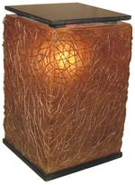 Jeffan Paris 24 in. Amber Brown Cube Floor Lamp with Abstract Natural Weave