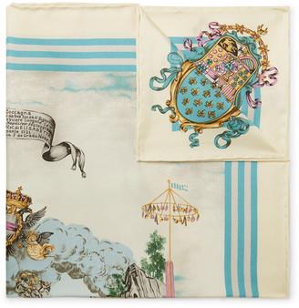 Rubinacci Printed Silk-Twill Pocket Square