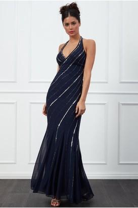 Goddiva Navy Sequin Halter Neck Maxi Dress