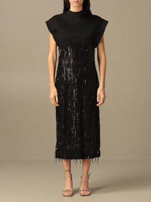 Just Cavalli Jersey Dress With All-over Micro Sequins