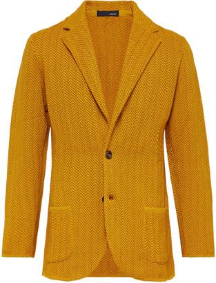 Lardini Mustard Slim-fit Herringbone Cotton And Linen-blend Knitted Blazer - Yellow