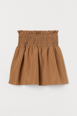 H&M Smocked-waist Skirt - Beige