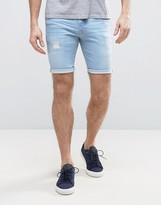 Asos Denim Shorts In Super Skinny With Rip And Repair Bleach Blue