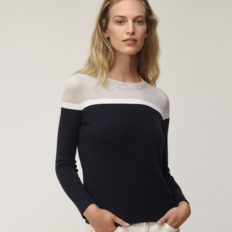 The White Company Colourblock Crew-Neck Jumper with Cotton, Navy, 6