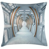 """Futuristic Hallway Of Indoor / Outdoor 26"""" Throw Pillow Cover East Urban Home"""