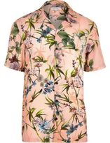River Island Mens Big and Tall Pink floral short sleeve shirt