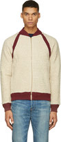 Visvim Ivory and Burgundy Alces Fleece Bomber Jacket
