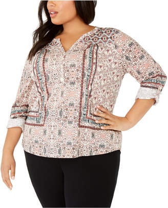 Style&Co. Style & Co Plus Size Printed Button-Up Top