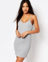 Boohoo Ribbed Plunge Neck Cami Dress